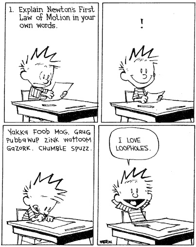 Calvin and Hobbes - Newton Loophole